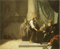 Painting by Willem de Poorter entitled The Parable of The Talents or Minas.